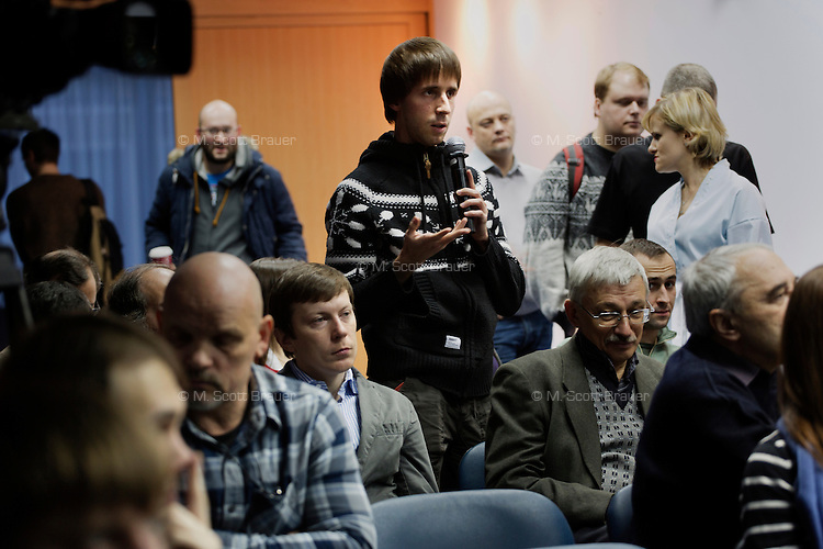 "A reporter asks a question to the organizing committee of the new opposition party ""5th of December"" talks about upcoming activities in Moscow, Russia."