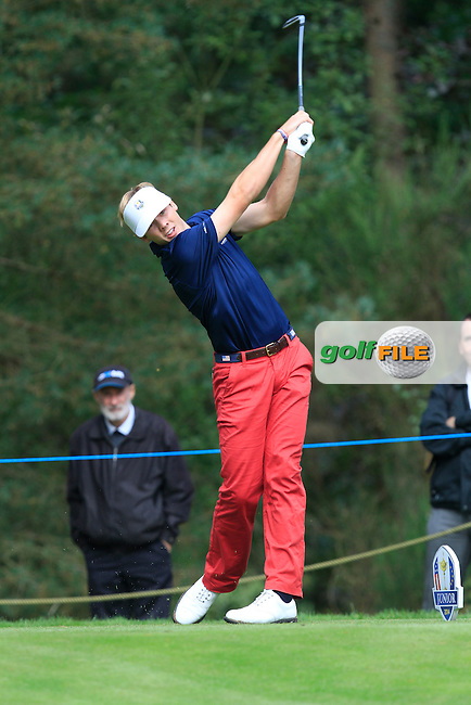 Sam Burns (USA) on the 3rd tee of the Mixed Fourballs during the 2014 JUNIOR RYDER CUP at the Blairgowrie Golf Club, Perthshire, Scotland. <br /> Picture:  Thos Caffrey / www.golffile.ie