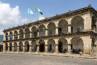 Palacio de Ayuntamiento or Town Hall facing the Parque Central, Antigua, Guatemala. Antigua is a UNESCO World heritage site...