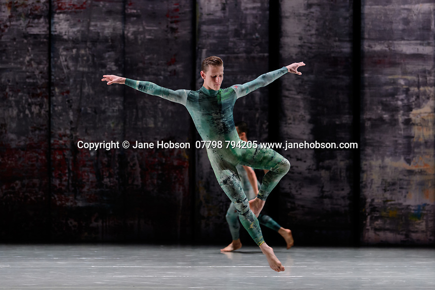 Rambert presents RAMBERT EVENT, by Merce Cunningham, at Sadler's Wells. Choreography by Merce Cunningham, staging by Jeannie Steele, Music by Philip Selway, Quinta and Adem Ilhan, designs inspired by Gerhard Richter's 'Cage' series, performed by Rambert. The dancer is: Alex Souillere