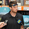 Steven Matz, New York Mets pitcher and Stony Brook native who graduated from Ward Melville High School in 2009, speaks with a modest gathering of media during an appearance at Holbrook Liquors, located at 125 Beacon Drive, on Monday, Aug. 8, 2016.
