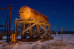 An abandoned water tank on the shores of the Salton Sea near Niland, California