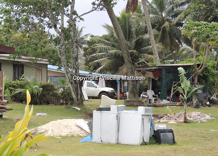 Rarotonga, Cook Islands - September 21, 2012:  Appliances are piled in a yard.