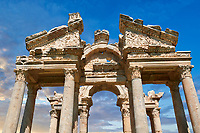 Close up of the pediments of the Tetrapylon monumental gateway to  the Temple of Aphrodite. The Tetrapylon consisted of four rows of four columns and It connects the major street to the sacred way heading toward the sanctuary of Aphrodite. <br /> <br /> Aphrodisias Archaeological Site, Aydin Province, Turkey.