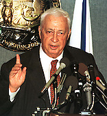 Foreign Minister Ariel Sharon of Israel answers a reporter's question during an appearance at the National Press Club in Washington, D.C. on Monday, December 7, 1998..Credit: Ron Sachs / CNP