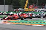 02.09.2018, Autodromo di Monza, Monza, FORMULA 1 GRAN PREMIO HEINEKEN D'ITALIA 2018<br />,im Bild<br />Rennstart:<br />Kimi Raikkonen (FIN#7), Scuderia Ferrari, Sebastian Vettel (GER#5), Scuderia Ferrari, Lewis Hamilton (GB#44), Mercedes AMG Petronas Formula One Team, Valtteri Bottas (FIN#77), Mercedes AMG Petronas Formula One Team, Max Verstappen (NEL#33), Aston Martin Red Bull Racing, Daniel Ricciardo (AUS#3), Aston Martin Red Bull Racing, Romain Grosjean (FRA#8), Haas F1 Team, Esteban Ocon (FRA#31), Racing Point Force India Formula One Team, Carlos Sainz Jr. (SPA#55), Renault Sport F1 Team<br /> <br /> Foto &copy; nordphoto / Bratic