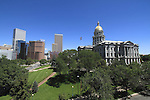 Broadway and the Colorado State Capitol, with the downtown skyline, Denver, Colorado, USA .  John offers private photo tours in Denver, Boulder and throughout Colorado. Year-round Colorado photo tours.