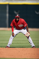 Arizona Diamondbacks Domingo Leyba (4) during an instructional league game against the Los Angeles Angels / Chicago Cubs co-op team on October 9, 2015 at the Tempe Diablo Stadium Complex in Tempe, Arizona.  (Mike Janes/Four Seam Images)