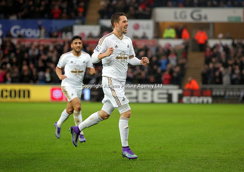 Gylfi Sigurdsson of Swansea celebrates his opening goal during the Barclays Premier League match between Swansea City and Crystal Palace at the Liberty Stadium, Swansea on February 06 2016