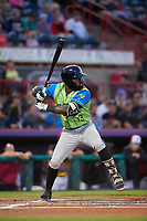 Las Ardillas Voladoras de Richmond Jacob Heyward (13) at bat during an Eastern League game against the Erie Piñatas on August 28, 2019 at UPMC Park in Erie, Pennsylvania.  Richmond defeated Erie 4-3 in the second game of a doubleheader.  (Mike Janes/Four Seam Images)