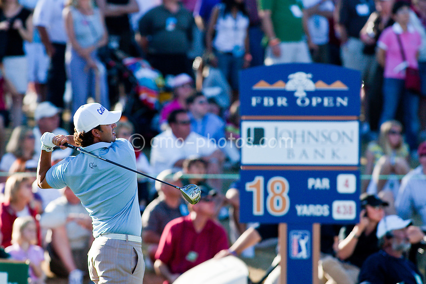 Feb 1, 2009; Scottsdale, AZ, USA;  Scott Piercy (USA) hits his tee shot on the 18th hole during the final round of the FBR Open at the TPC Scottsdale.