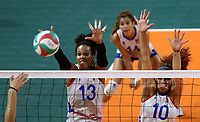 BARRANQUILLA - COLOMBIA, 25-07-2018: Mexico y Puerto Rico durante partido por la medalla de bronce en la modalidad de Voleiboll femenino como parte de los Juegos Centroamericanos y del Caribe Barranquilla 2018. /  Mexico and Puerto Rico during in match for the bronze medal women's volleyball as a part of the Central American and Caribbean Sports Games Barranquilla 2018. Photo: VizzorImage / Cont
