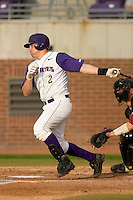 Drew Schieber #2 of the East Carolina Pirates follows through on his swing versus the Elon Phoenix at Clark-LeClair Stadium March 29, 2009 in Greenville, North Carolina. (Photo by Brian Westerholt / Four Seam Images)