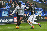 Bolton Wanderers' Mark Little competing with Fulham's  Matt Targett<br /> <br /> Photographer Andrew Kearns/CameraSport<br /> <br /> The EFL Sky Bet Championship - Bolton Wanderers v Fulham - Saturday 10th February 2018 - Macron Stadium - Bolton<br /> <br /> World Copyright &copy; 2018 CameraSport. All rights reserved. 43 Linden Ave. Countesthorpe. Leicester. England. LE8 5PG - Tel: +44 (0) 116 277 4147 - admin@camerasport.com - www.camerasport.com