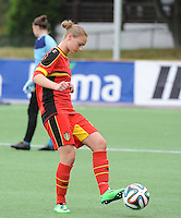 20140715 - Strømmen , NORWAY : Belgian Margaux Van Ackere pictured during the female soccer match between Women under 19 teams of  Belgium and Scotland , on the first matchday in group A of the UEFA Women Under19 European Championship at Strommen Stadion , Norway . Tuesday 15th July 2014 . PHOTO DAVID CATRY