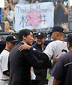 Hideki Matsui, Derek Jeter (Yankees),<br /> JULY 28, 2013 - MLB :<br /> Hideki Matsui talks with Derek Jeter of the New York Yankees during Matsui's official retirement ceremony before the Major League Baseball game against the Tampa Bay Rays at Yankee Stadium in The Bronx, New York, United States. (Photo by AFLO)