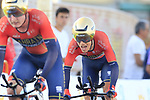 Bahrain-Merida in action during Stage 1 of La Vuelta 2019, a team time trial running 13.4km from Salinas de Torrevieja to Torrevieja, Spain. 24th August 2019.<br /> Picture: Eoin Clarke | Cyclefile<br /> <br /> All photos usage must carry mandatory copyright credit (© Cyclefile | Eoin Clarke)