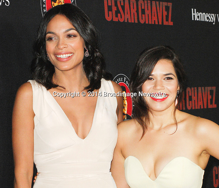 Pictured: Rosario Dawson, America Ferrera<br /> Mandatory Credit &copy; Adhemar Sburlati/Broadimage<br /> Film Premiere of Cesar Chavez<br /> <br /> 3/20/14, Hollywood, California, United States of America<br /> <br /> Broadimage Newswire<br /> Los Angeles 1+  (310) 301-1027<br /> New York      1+  (646) 827-9134<br /> sales@broadimage.com<br /> http://www.broadimage.com