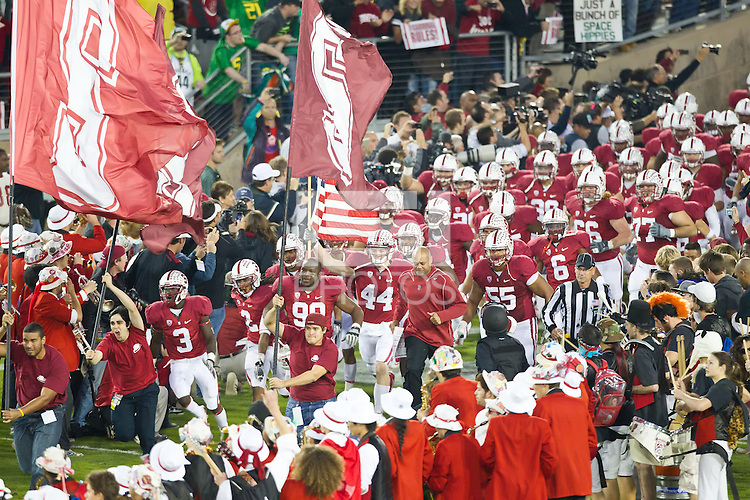 STANFORD, CA - November 12, 2011: Stanford football  team competes against Oregon at Stanford Stadium in Stanford California. Final score Stanford lost 30-53.