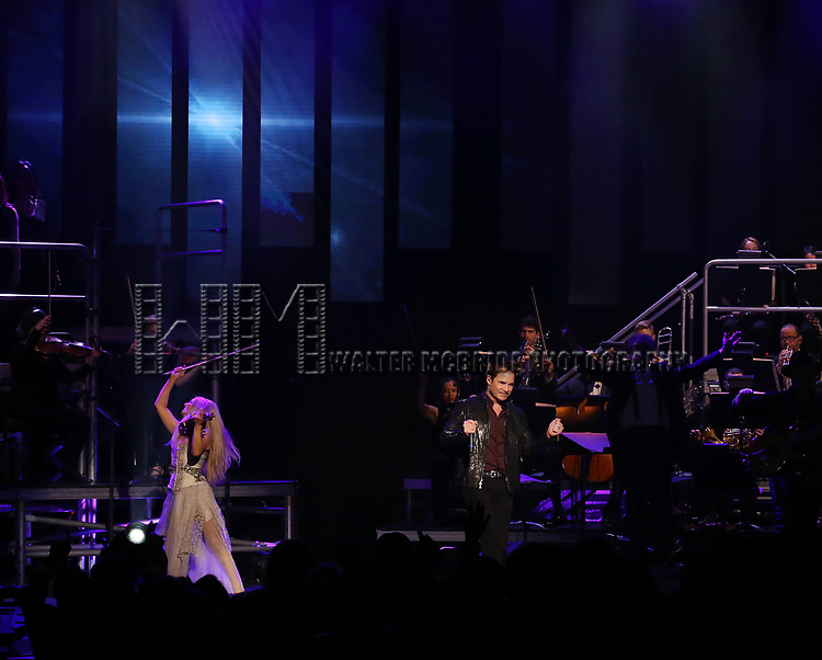 "Mairead Nesbitt and Pat Monahan during the Broadway Opening Night Performance Curtain Call of  ""Rocktopia"" at The Broadway Theatre on March 27, 2018 in New York City."