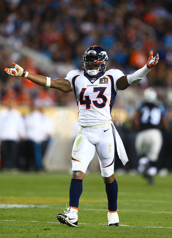 Feb 7, 2016; Santa Clara, CA, USA; Denver Broncos safety T.J. Ward (43) celebrates a play against the Carolina Panthers in Super Bowl 50 at Levi's Stadium. Mandatory Credit: Mark J. Rebilas-USA TODAY Sports