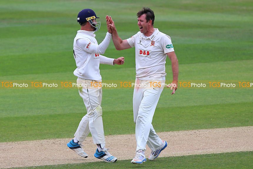 David Masters of Essex (R) celebrates taking the wicket of Daryl Mitchell during Essex CCC vs Worcestershire CCC, Specsavers County Championship Division 2 Cricket at the Essex County Ground on 2nd September 2016