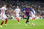 Nelson Semedo of FC Barcelona (R) runs with the ball during the La Liga 2018-19 match between FC Barcelona and Sevilla FC at Camp Nou Stadium on October 20 2018 in Barcelona, Spain. Photo by Vicens Gimenez / Power Sport Images