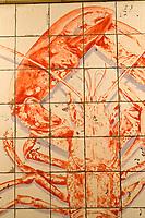 """Europe/France/Ile-de-France/75014/Paris: la """"Poissonnerie du Dôme"""" détail des Mosaïques réalisées en 1980 par Slavik- Homard"""