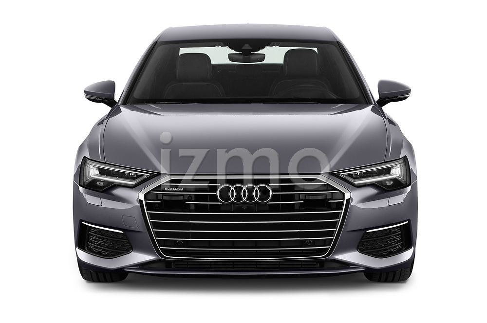 Car photography straight front view of a 2019 Audi A6 Design 4 Door Sedan