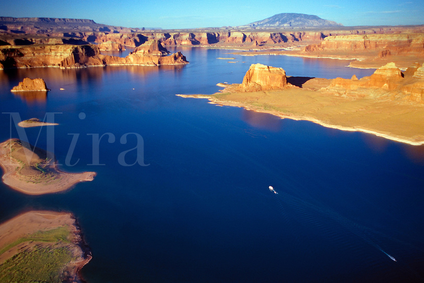 Looking across Lake Powell and the Glen Canyon area, Navajo Mountain can be seen on the horizon