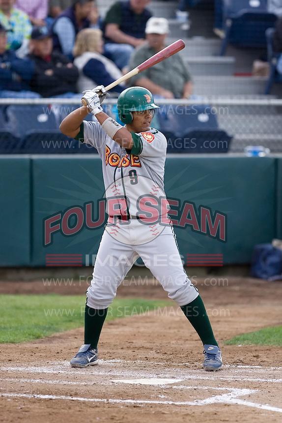 June 22, 2008: The Boise Hawks' Carlos Perez at-bat against the Everett AquaSox in a Northwest League game at Everett Memorial Stadium in Everett, Washington.