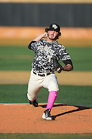 Wake Forest Demon Deacons starting pitcher Matt Pirro (1) in action against the Virginia Tech Hokies in game two of a doubleheader at Wake Forest Baseball Park on March 7, 2015 in Winston-Salem, North Carolina.  (Brian Westerholt/Four Seam Images)