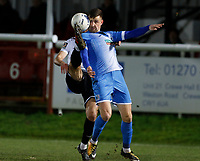 Scott Quigley of Barrow is challenged by Will De Havilland during Dover Athletic vs Barrow, Vanarama National League Football at the Crabble Athletic Ground on 4th February 2020