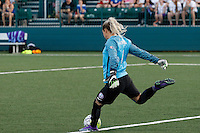 Rochester, NY - Saturday June 11, 2016: Orlando Pride goalkeeper Ashlyn Harris (1) during a regular season National Women's Soccer League (NWSL) match between the Western New York Flash and the Orlando Pride at Rochester Rhinos Stadium.