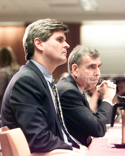 """Steve Case, Chairman and CEO, America Online, Inc. and Gerald Levin, Chairman and CEO, Time Warner, Inc. testifies at the """"En Banc"""" hearing before the U.S. Federal Communications Commission on America OnLine, Inc. and Time Warner, Inc. applications for transfer of control of broadcast licenses as part of their proposed merger in Washington, DC on 27 July, 2000..Credit: Ron Sachs / CNP"""