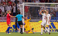 LYON,  - JULY 2: Alyssa Naeher #1 makes a save during a game between England and USWNT at Stade de Lyon on July 2, 2019 in Lyon, France.