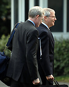 Washington, D.C. - June 11, 2007 -- White House Chief of Staff Josh Bolten, right, and National Security Advisor Stephen Hadley, left, return to the White House with United States President George W. Bush (not pictured) after an eight day visit to Europe in Washington, D.C. on Monday, June 11, 2007.  <br /> Credit: Ron Sachs - Pool