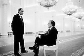 Moscow, Russia<br /> Soviet Union<br /> August 6, 1991<br /> <br /> Roon Arledge, president of ABC News, and Russian broadcaster Vladimir Posner inside the Kremlin moments before Mikhail Gorbachev and Boris Yelstin conduct a private interview with US ABC television.<br /> <br /> In December 1991, food shortages in central Russia had prompted food rationing in the Moscow area for the first time since World War II. Amid steady collapse, Soviet President Gorbachev and his government continued to oppose rapid market reforms like Yavlinsky's &quot;500 Days&quot; program. To break Gorbachev's opposition, Yeltsin decided to disband the USSR in accordance with the Treaty of the Union of 1922 and thereby remove Gorbachev and the Soviet government from power. The step was also enthusiastically supported by the governments of Ukraine and Belarus, which were parties of the Treaty of 1922 along with Russia.<br /> <br /> On December 21, 1991, representatives of all member republics except Georgia signed the Alma-Ata Protocol, in which they confirmed the dissolution of the Union. That same day, all former-Soviet republics agreed to join the CIS, with the exception of the three Baltic States.