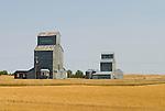 Grain elevators, windmill