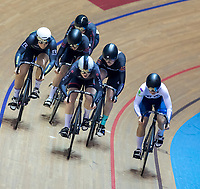 25th January 2020; National Cycling Centre, Manchester, Lancashire, England; HSBC British Cycling Track Championships; Lauren Bell (Centre silver helmet) comes throuhg the field to win the second semi final of the women's keirin with Charlotte Robinson (Far left)  coming second