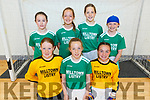 Miltown/Listry U13 girls team taking part in the Community Games Munster Provincial Finals in Futsal in IT Tralee Sports Complex on Saturday morning.<br /> Kneeling l to r: Fia Whelan, Sarah Fitzgerald and Kate Murphy.<br /> Back l to r: Darina Ellen Burke, Naoishe O'Donoghue, Lilly Kate Clifford and Fiana Bradley.
