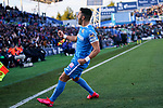 Angel Rodriguez of Getafe FC celebrates goal during La Liga match between Getafe CF and Real Betis Balompie at Wanda Metropolitano Stadium in Madrid, Spain. January 26, 2020. (ALTERPHOTOS/A. Perez Meca)