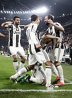 Calcio, Serie A: Juventus Stadium. Torino, Juventus Stadium, 29 ottobre 2016.<br /> Juventus&rsquo; Leonardo Bonucci, bottom, celebrates with teammates after scoring during the Italian Serie A football match between Juventus and Napoli at Turin's Juventus Stadium, 29 October 2016. Juventus won 2-1.<br /> UPDATE IMAGES PRESS/Isabella Bonotto