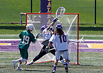 Albany's JD Colarusso (#9) makes a save from Vermont's Braiden Davis (#19) as UAlbany Lacrosse defeats Vermont 14-4  in the American East Conference Championship game at Casey Stadium, May 5.