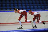 SCHAATSEN: HEERENVEEN: IJsstadion Thialf, 05-07-2013, Training zomerijs, Team Corendon, Robert Bovenhuis, Renz Rotteveel, ©foto Martin de Jong