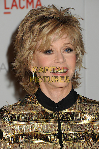 Jane Fonda.The Inaugural Art and Film Gala held at LACMA in Los Angeles, California, USA..November 5th, 2011.headshot portrait black gold .CAP/ADM/BP.©Byron Purvis/AdMedia/Capital Pictures.