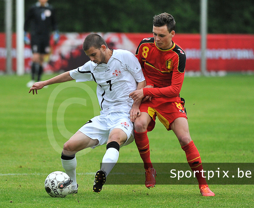 Georgia U19 - Belgium U19 : Guram Samushia (7) and Birger Verstraete (8)<br /> foto DAVID CATRY / Nikonpro.be