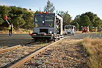 6th Ione Rail Fair, speeders running the rails from Ione to Martel in the evening, Amador County, Calif.