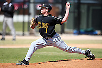 March 15, 2010:  Pitcher Luke DiBlasi of UMBC vs. Long Island University at Lake Myrtle Park in Auburndale, FL.  Photo By Mike Janes/Four Seam Images
