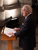 Former Canadian Prime Minister Brian Mulroney delivers a eulogy at the state funeral service of former President George W. Bush at the National Cathedral. <br /> Credit: Chris Kleponis / Pool via CNP